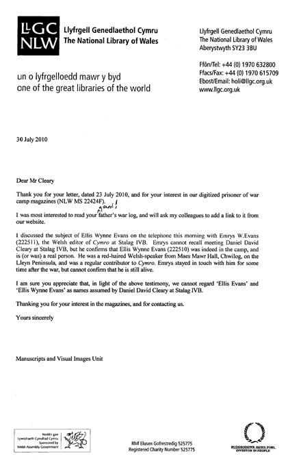 Ellis Evans Letter 2